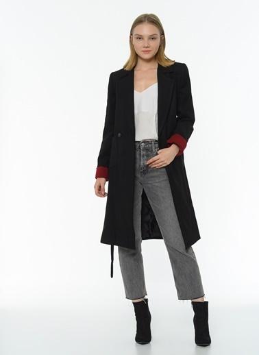 Dewberry Cepli Belden Bağlamalı Kadın Palto Siyah